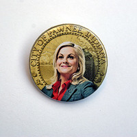 """Parks and Rec - Leslie Knope 1x1.5"""" pinback button badge from Stickerama"""