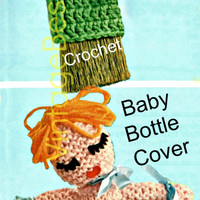 2 Patterns Flower Whisk Broom Cover and Doll Baby Bottle Cover 1960's Vintage CROCHET Pattern KNITTING fun home decor Instant Download Pdf
