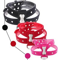 Bling Rhinestone Bone Velvet & Leather Pet Puppy Dog Collar Harness Chihuahua Teacup Care S M L Red Black Hot Pink Free Shipping