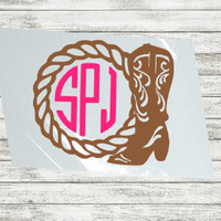 Cowgirl decal, Cowboy boots Monogram, Rope Monogram, Yeti cup decal