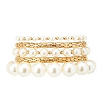 Gold Pearl & Gold Stretch Bracelets - 5 Pack by Charlotte Russe