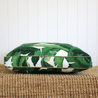 Green Palm Boxed Square Floor cushion