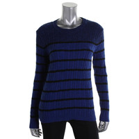 Karen Scott Womens Cable Knit Striped Pullover Sweater