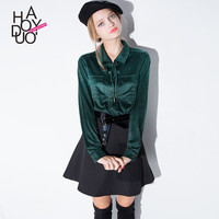 Haoduoyi Spring long sleeve suede blouses pockets tie neck women shirts