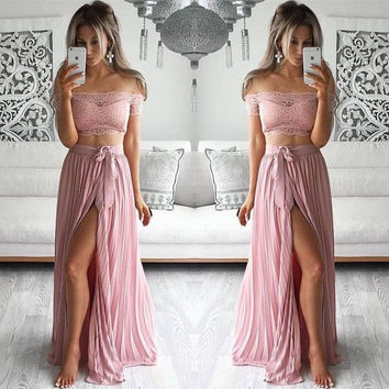 Two Piece Lace Side Slit Prom Dresses
