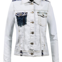 LE3NO Womens Vintage Cropped Denim Jacket With Pockets (CLEARANCE)