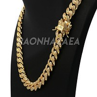 18K Yellow Gold CUBAN Miami Chain Link MicroPave Lab Diamond Necklace