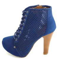 Qupid Perforated Lace-Up Platform Booties by Charlotte Russe