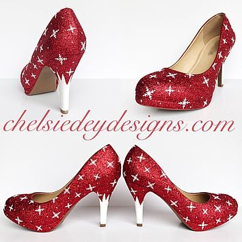Red Glitter High Heels, White Snowflake Prom Pumps