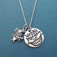 We're All Mad Here,  Rabbit, Silver, Necklace, Birthday, Best friends, Sister, Gift, Jewelry