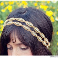Double Natalie  Gold and Rhinestone Beaded Tie by AcuteDesigns
