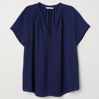 V-neck blouse - Dark blue - Ladies | H&M GB