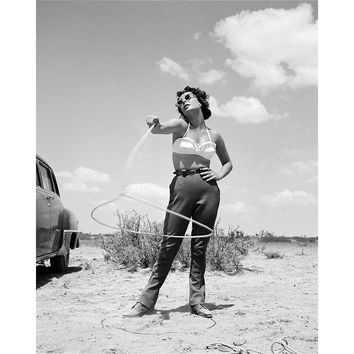 Elizabeth Taylor with Lasso Lithograph