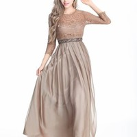 Elegant Long Sleeves khaki Lace Beaded Women Chiffon Dress