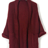 Burgundy Lapel Pocket Detail Long Sleeve Knit Cardigan