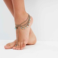 Turquoise Chipping Foot Chain in Gold - Urban Outfitters