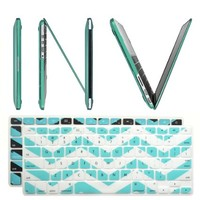 """INV ® Macbook Extra Slim Hard Case - Crystal for New Apple Macbook Pro 13.3 Inch 13"""" (A1425 or A1502) with Retina Display Plus 2 Pcs Matching Color Chevron Zig-Zag Keyboard Cover Skin (New Macbook Pro 13"""" A1425 / A1502, TURQUOISE)"""
