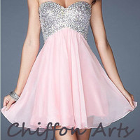 Elegant Pink  chiffon short prom dress pink evening dress cocktail pageant dress party dress pink home coming dress short prom dress