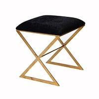X Bench in Gold with Black Velvet Fabric