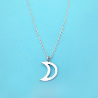 Sterling, Silver, Crescent, Moon, Necklace, Open, Crescent, Moon, Half, Moon, Jewelry, Necklace, Gift, Minimal, Silver, Moon, Necklace