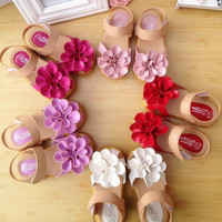 Spring & Summer 5Colors Kids shoes PU Leather Flower Children Girls Sandals Sneakers First Walkers Children's flat soft shoes