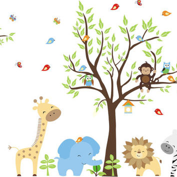 "Nursery Wall Decal, Animal Wall Decal, Blue Elephant Decal, Zoo Animal Wall Prints, Baby Shower Gifts, Removable & Reusable - 84"" x 130"""