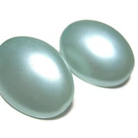 Mint Green Clip On Vintage Earrings Plastic Oval Mid Century Womens Mod Groovy Jewelry