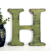 """18"""" Wooden Letter H in Sage Pine Wood Sign Wall Decor Rustic Americana Country Chic Wedding Photo Prop Nursery Kids Decor"""