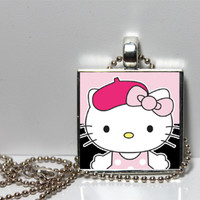 French Hello Kitty with Pink and Black background Tile Square Pendant Paris Collection
