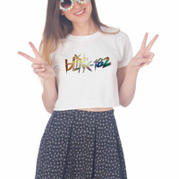 blink 182 galaxy For Womens Crop Shirt ***