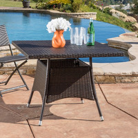 Outdoor Wicker Dining Table Patio Furniture Christopher Knight