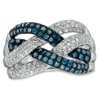 1 CT. T.W. Enhanced Blue and White Diamond Loose Braid Ring in 10K White Gold - View All Rings - Zales