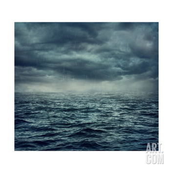 Rain over the Stormy Sea Art Print by egal at Art.com
