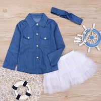 Toddler Girls Denim 3 Pc Outfit w/ Tutu and Matching Headwrap