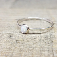 Opal Ring Sterling Silver Stacking Ring