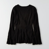 AEO Front Keyhole Bell Sleeve Top, Black
