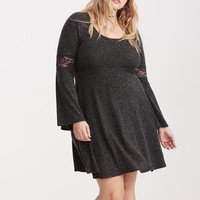 Lace Inset Hacci Knit Skater Dress