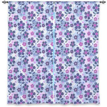 Window Curtains Unlined from DiaNoche Designs Artistic, Stylish, Unique, Decorative, Fun, Funky, Cool by Julia Grifol - Flowers Mix