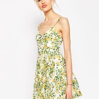ASOS Sheer And Solid Pleated Mini Dress in Yellow Floral
