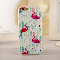 Newest Fashion Cute Cartoon Animal Flamingo Celular Phone Cases For Apple iphone6 6S Black Cover For iphone 6 Case Capa Fundas