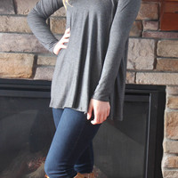 Scoop Neck Jersey Knit Top - Charcoal