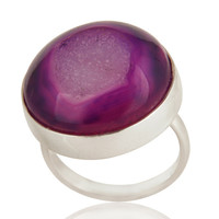 Purple Druzy Agate Gemstone Bezel Set Stacking Ring in Solid Sterling Silver