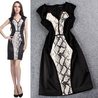 Black V-Neck Snake Skin Print Sleeveless Mini Dress