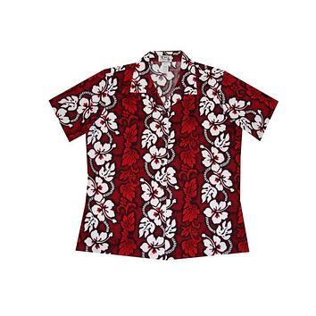 KY's Red with Hibiscus Womens Button Down Hawaiian Shirt