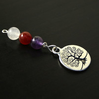 Triple gem Tree of Life Blessingway bead - Rose quartz, carnelian, amethyst - Mother Blessing, baby shower gift, pregnancy gift, doula gift