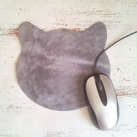 Leather cat mouse pad, Minimal Mouse Pad, holiday gift