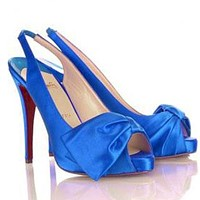 CL Christian Louboutin Bow Fashion Fish Mouth Heels Shoes