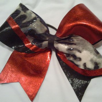 """3"""" Texas Size Cheer Bow in Red, Black and Leopard! Big Bow with Mystique Spandex!"""