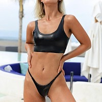 New fashion vest two piece bikini solid color swimsuit Black