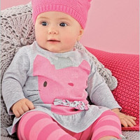 2016 autumn spring baby girl clothes cartoon cats long sleeve tshirt + striped pants newborn infant 2pcs set girls clothing set